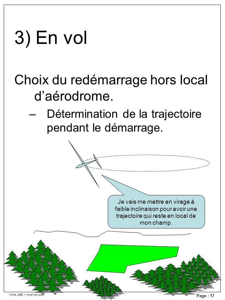 Michel LEBE – Novembre 2009 Page : 17 Choix du redémarrage hors local daérodrome. –Détermination de la trajectoire pendant le démarrage. Je vais me me