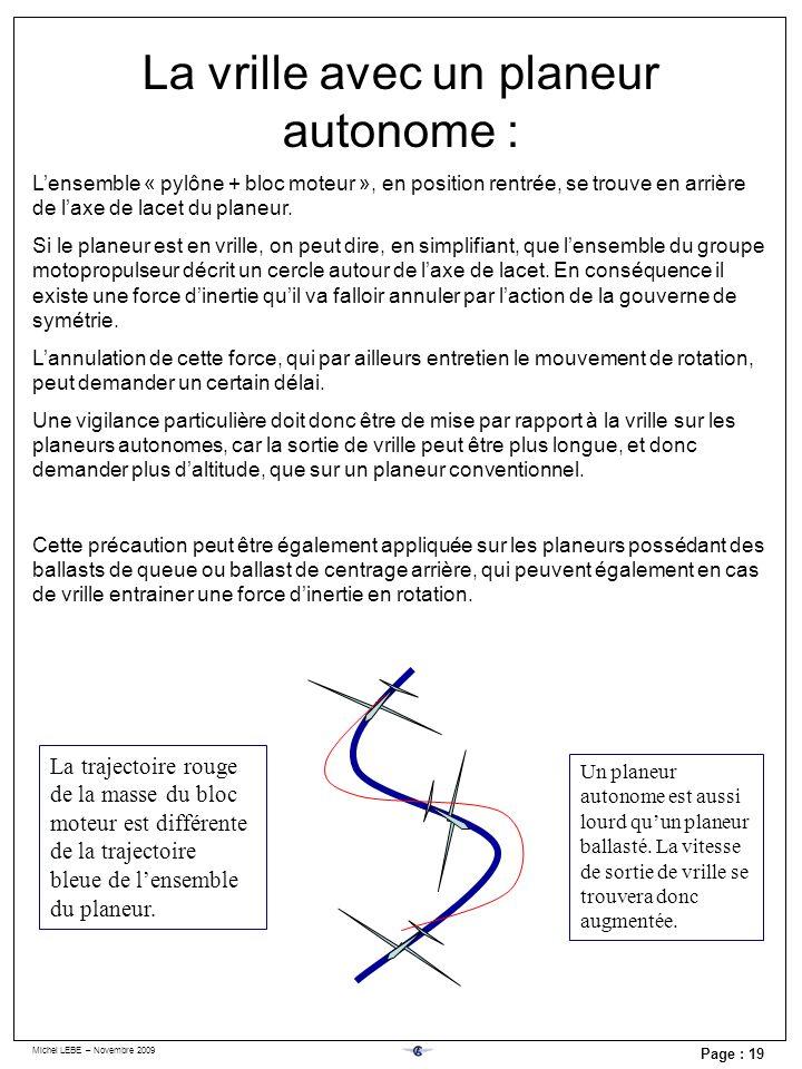 Michel LEBE – Novembre 2009 Page : 19 La vrille avec un planeur autonome : Lensemble « pylône + bloc moteur », en position rentrée, se trouve en arriè