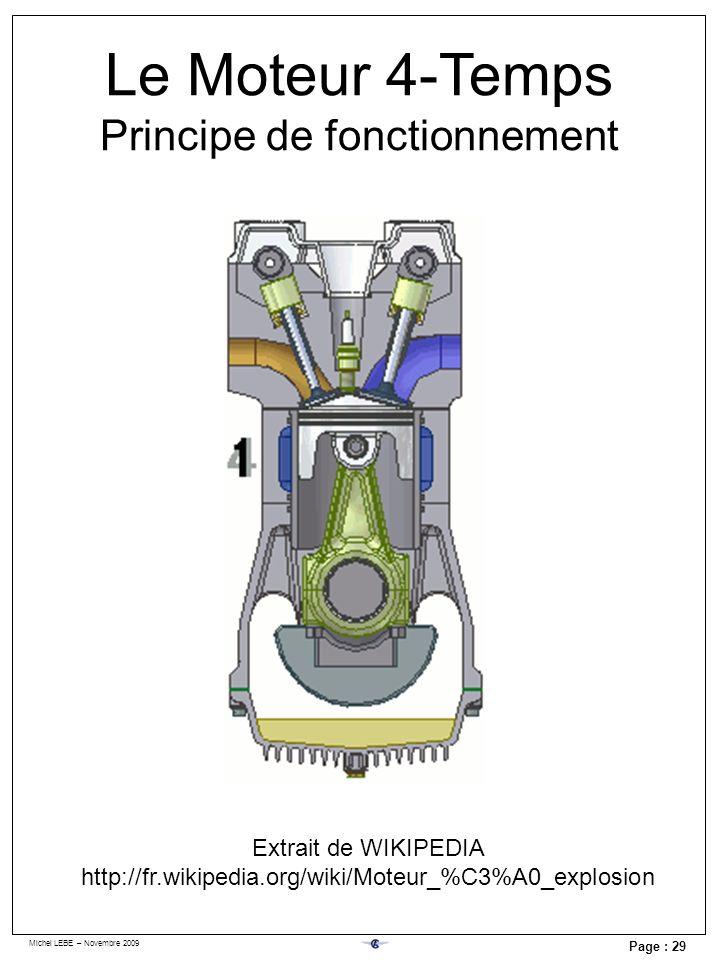 Michel LEBE – Novembre 2009 Page : 29 Le Moteur 4-Temps Principe de fonctionnement Extrait de WIKIPEDIA http://fr.wikipedia.org/wiki/Moteur_%C3%A0_exp