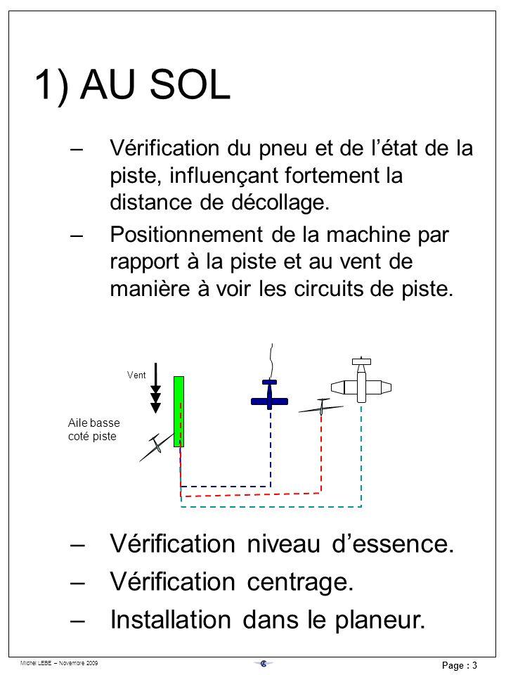 Michel LEBE – Novembre 2009 Page : 3 –Vérification du pneu et de létat de la piste, influençant fortement la distance de décollage. –Positionnement de