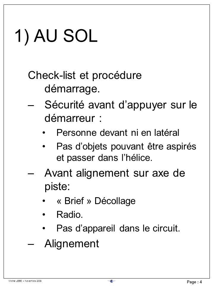 Michel LEBE – Novembre 2009 Page : 4 Check-list et procédure démarrage. –Sécurité avant dappuyer sur le démarreur : Personne devant ni en latéral Pas