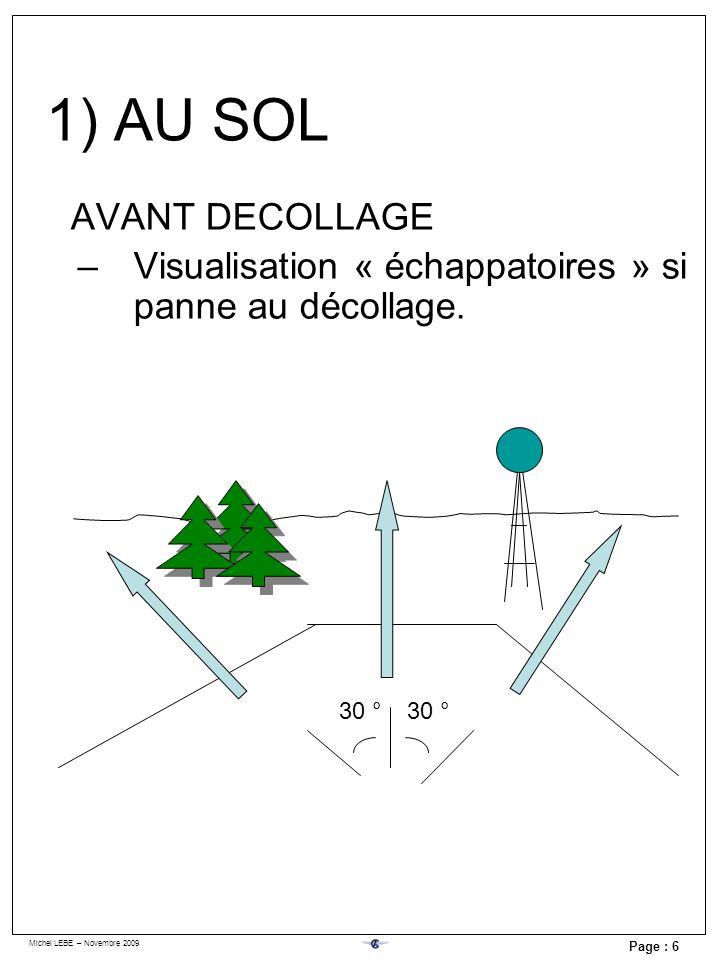 Michel LEBE – Novembre 2009 Page : 6 AVANT DECOLLAGE –Visualisation « échappatoires » si panne au décollage. 30 ° 1) AU SOL