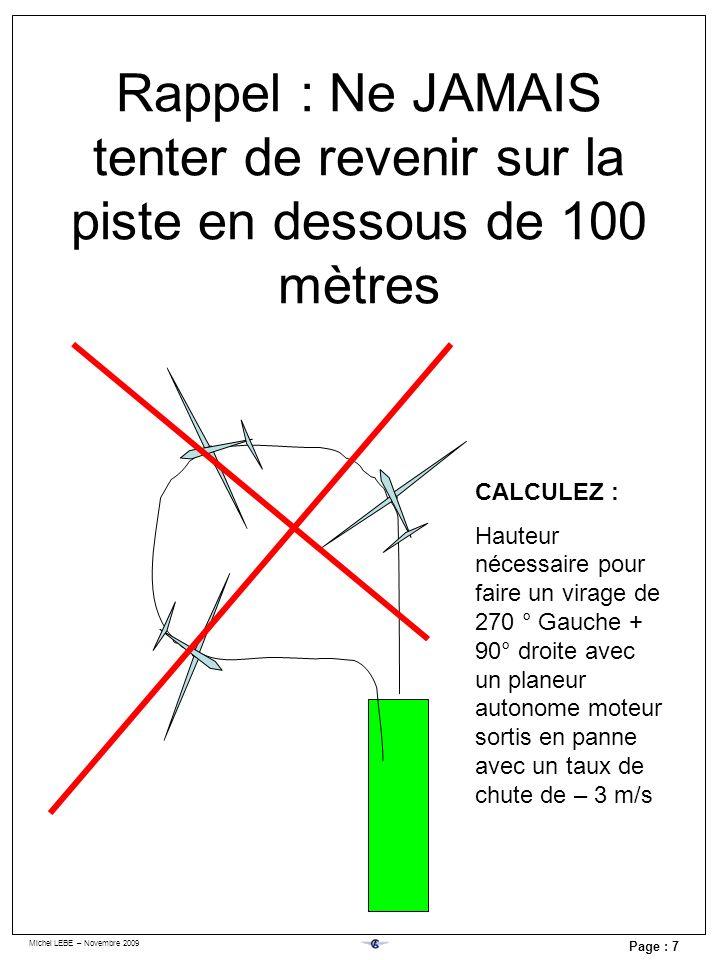 Michel LEBE – Novembre 2009 Page : 7 Rappel : Ne JAMAIS tenter de revenir sur la piste en dessous de 100 mètres CALCULEZ : Hauteur nécessaire pour fai