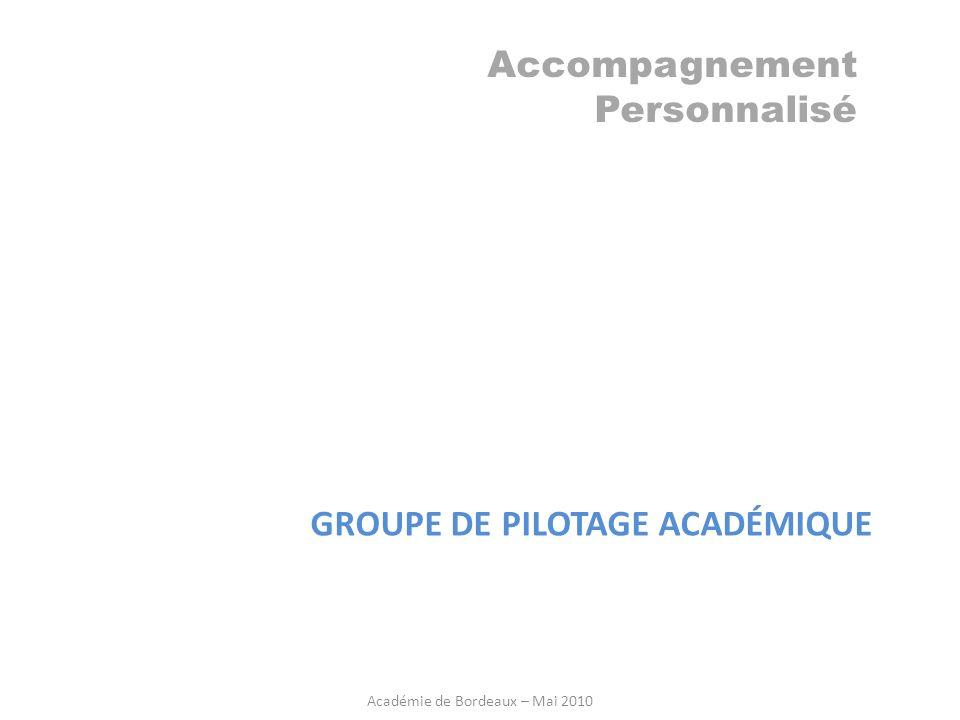 Accompagnement Personnalisé GROUPE DE PILOTAGE ACADÉMIQUE Académie de Bordeaux – Mai 2010