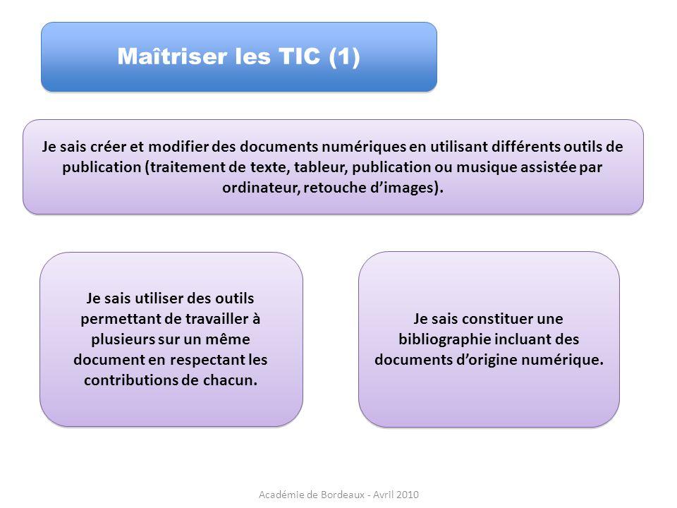 Maîtriser les TIC (1) Je sais créer et modifier des documents numériques en utilisant différents outils de publication (traitement de texte, tableur,
