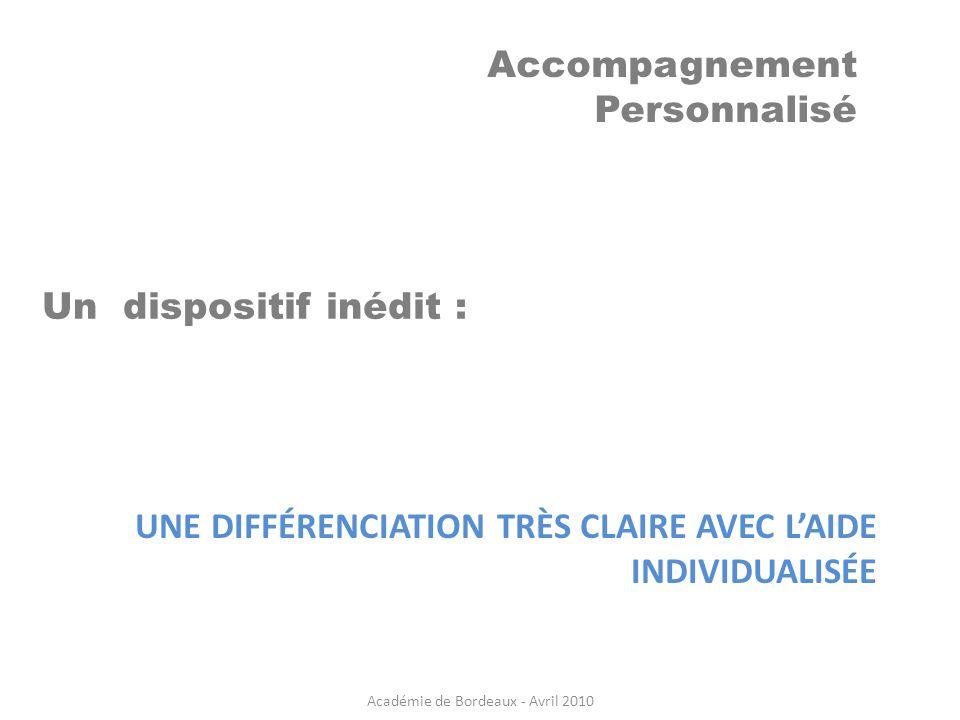 Accompagnement Personnalisé UNE DIFFÉRENCIATION TRÈS CLAIRE AVEC LAIDE INDIVIDUALISÉE Un dispositif inédit : Académie de Bordeaux - Avril 2010