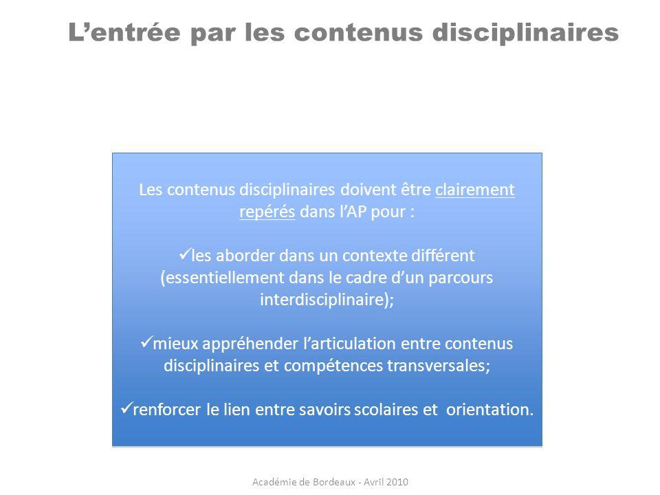 Lentrée par les contenus disciplinaires Les contenus disciplinaires doivent être clairement repérés dans lAP pour : les aborder dans un contexte diffé