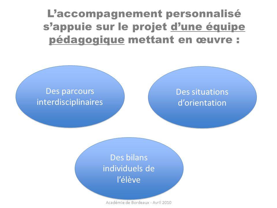 Laccompagnement personnalisé sappuie sur le projet dune équipe pédagogique mettant en œuvre : Des parcours interdisciplinaires Des bilans individuels