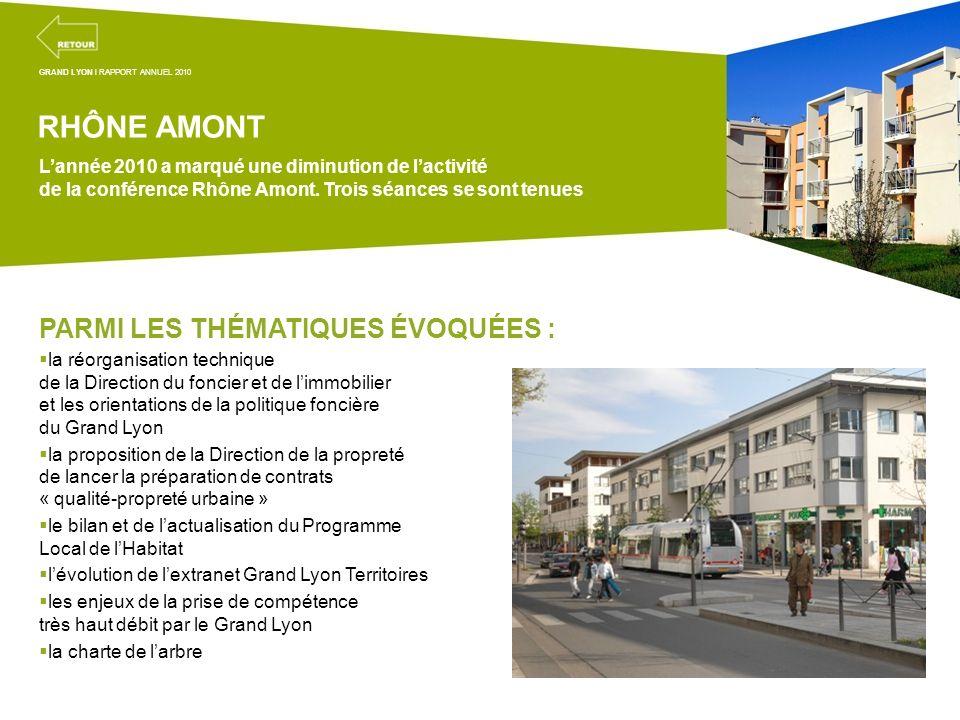Projets transversaux de la mission coordination territoriale RHÔNE AMONT Lannée 2010 a marqué une diminution de lactivité de la conférence Rhône Amont