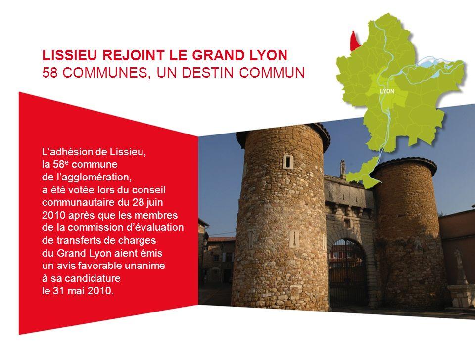 LISSIEU REJOINT LE GRAND LYON 58 COMMUNES, UN DESTIN COMMUN Ladhésion de Lissieu, la 58 e commune de lagglomération, a été votée lors du conseil commu