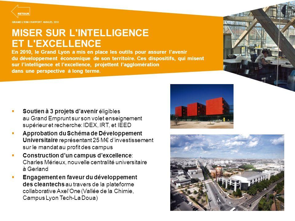 MISER SUR L'INTELLIGENCE ET L'EXCELLENCE En 2010, le Grand Lyon a mis en place les outils pour assurer lavenir du développement économique de son terr