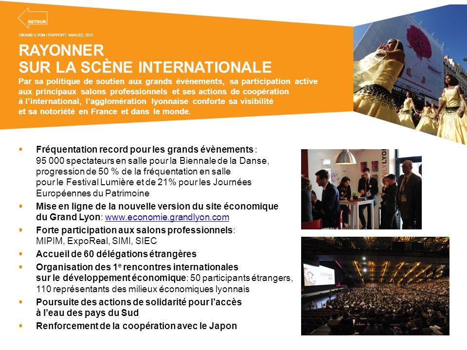 RAYONNER SUR LA SCÈNE INTERNATIONALE Par sa politique de soutien aux grands événements, sa participation active aux principaux salons professionnels e
