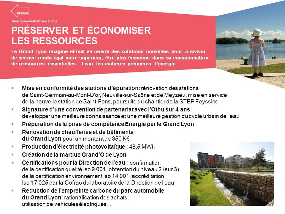 PRÉSERVER ET ÉCONOMISER LES RESSOURCES Le Grand Lyon imagine et met en œuvre des solutions nouvelles pour, à niveau de service rendu égal voire supéri