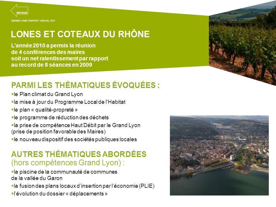 Projets transversaux de la mission coordination territoriale PARMI LES THÉMATIQUES ÉVOQUÉES : le Plan climat du Grand Lyon la mise à jour du Programme