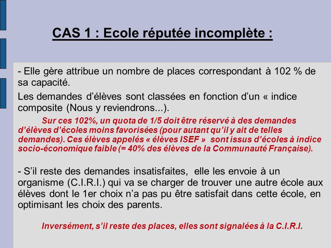 CAS 1 : Ecole réputée incomplète : - Elle gère attribue un nombre de places correspondant à 102 % de sa capacité. Les demandes délèves sont classées e
