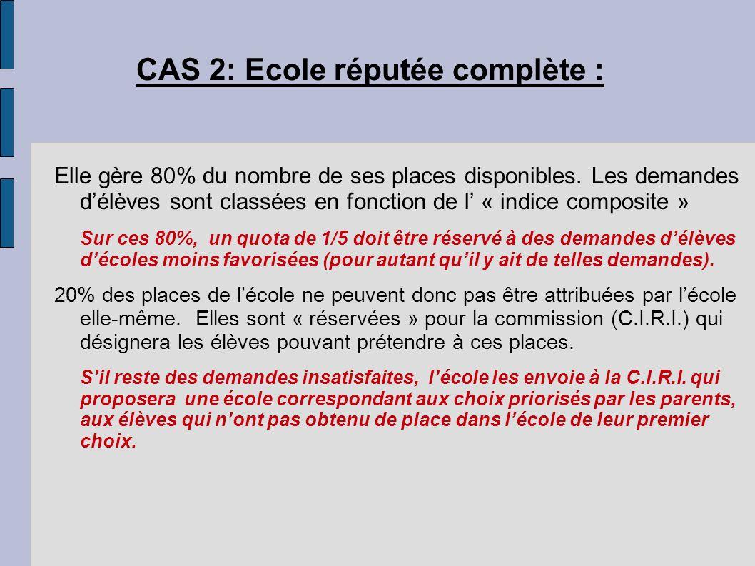 CAS 2: Ecole réputée complète : Elle gère 80% du nombre de ses places disponibles. Les demandes délèves sont classées en fonction de l « indice compos