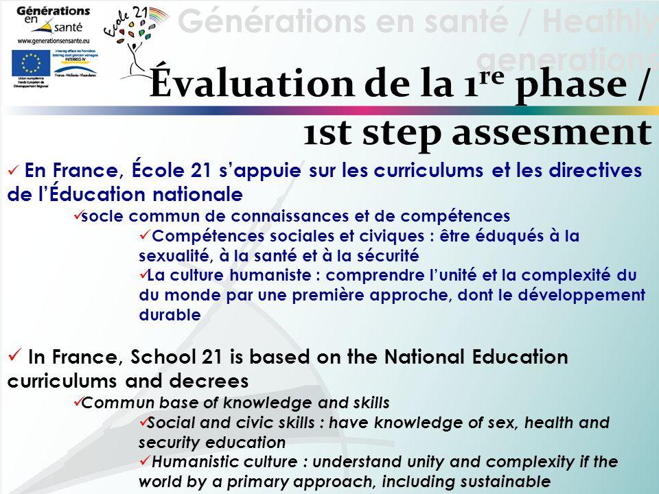Générations en santé / Heathly generations Évaluation de la 1 re phase / 1st step assesment En France, École 21 sappuie sur les curriculums et les dir