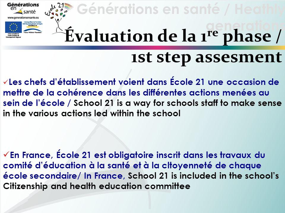 Générations en santé / Heathly generations Évaluation de la 1 re phase / 1st step assesment Les chefs détablissement voient dans École 21 une occasion