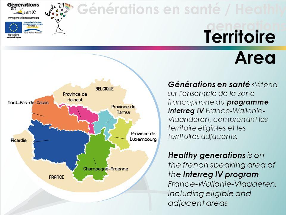 Générations en santé / Heathly generations Territoire Area Générations en santé s étend sur l ensemble de la zone francophone du programme Interreg IV France-Wallonie- Vlaanderen, comprenant les territoire éligibles et les territoires adjacents.