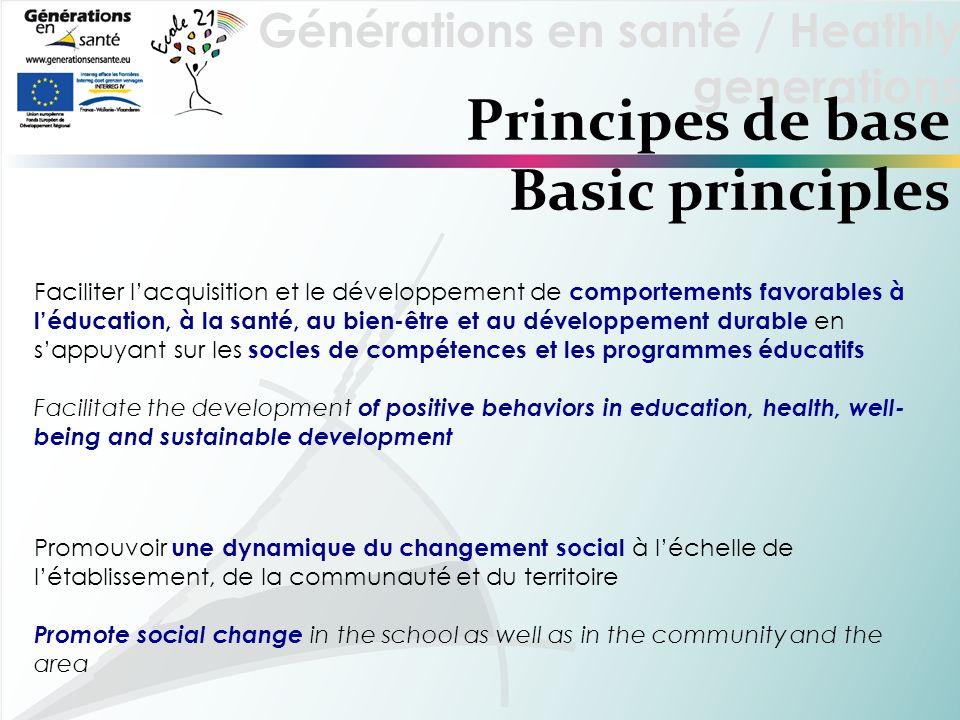 Générations en santé / Heathly generations Principes de base Basic principles Faciliter lacquisition et le développement de comportements favorables à