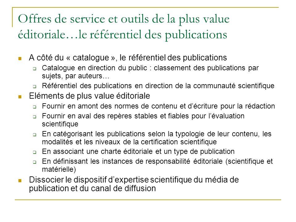 Offres de service et outils de la plus value éditoriale…le référentiel des publications A côté du « catalogue », le référentiel des publications Catal