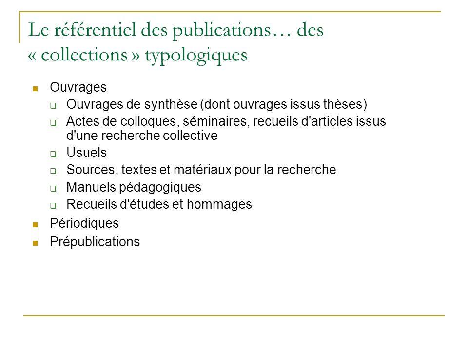 Le référentiel des publications… des « collections » typologiques Ouvrages Ouvrages de synthèse (dont ouvrages issus thèses) Actes de colloques, sémin