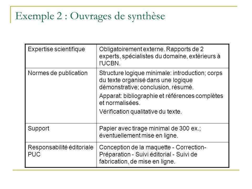 Exemple 2 : Ouvrages de synthèse Expertise scientifiqueObligatoirement externe. Rapports de 2 experts, spécialistes du domaine, extérieurs à l'UCBN. N