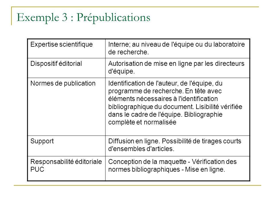 Exemple 3 : Prépublications Expertise scientifiqueInterne; au niveau de l'équipe ou du laboratoire de recherche. Dispositif éditorialAutorisation de m