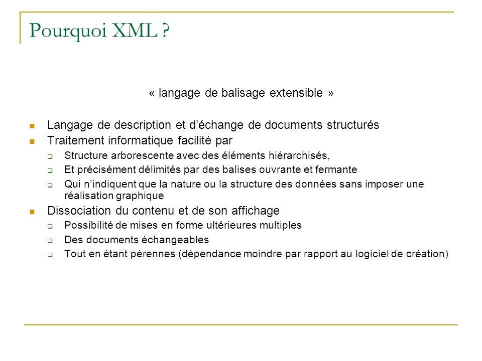 Pourquoi XML ? « langage de balisage extensible » Langage de description et déchange de documents structurés Traitement informatique facilité par Stru