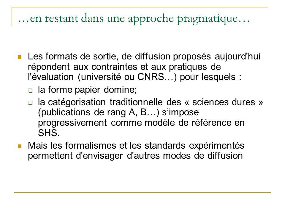 …en restant dans une approche pragmatique… Les formats de sortie, de diffusion proposés aujourd'hui répondent aux contraintes et aux pratiques de l'év