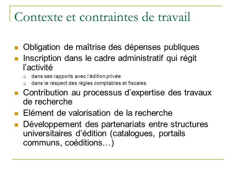Contexte et contraintes de travail Obligation de maîtrise des dépenses publiques Inscription dans le cadre administratif qui régit lactivité dans ses