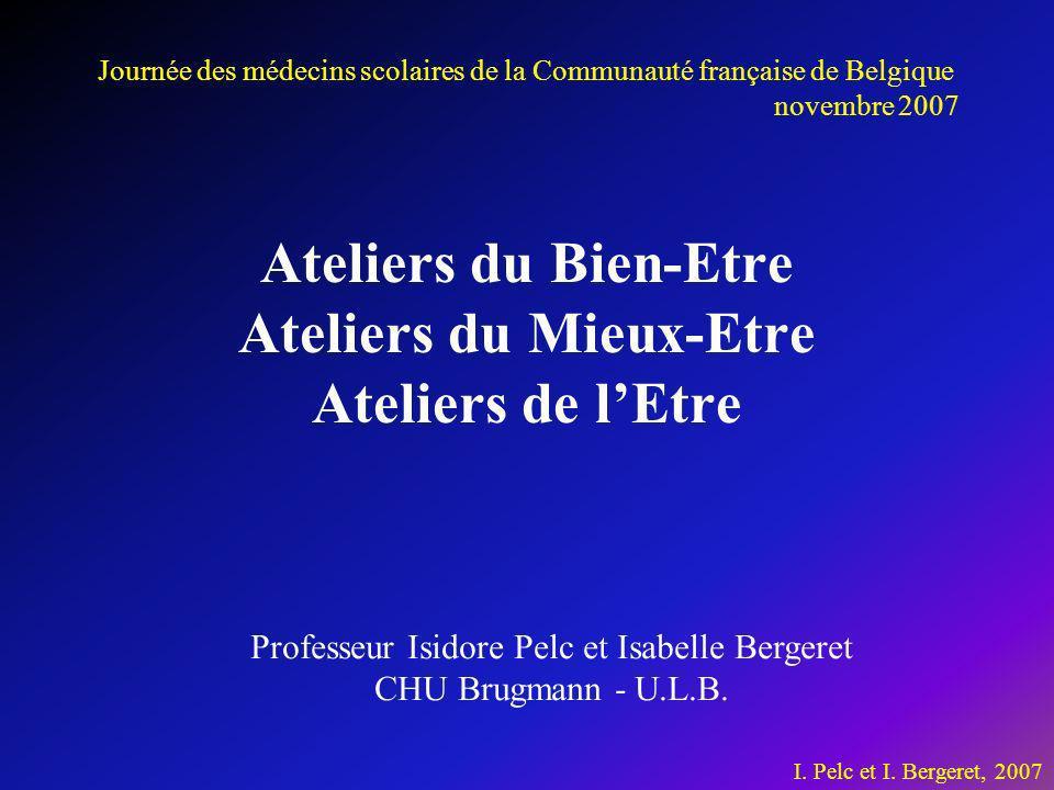 Ateliers du Bien-Etre Ateliers du Mieux-Etre Ateliers de lEtre I. Pelc et I. Bergeret, 2007 Professeur Isidore Pelc et Isabelle Bergeret CHU Brugmann