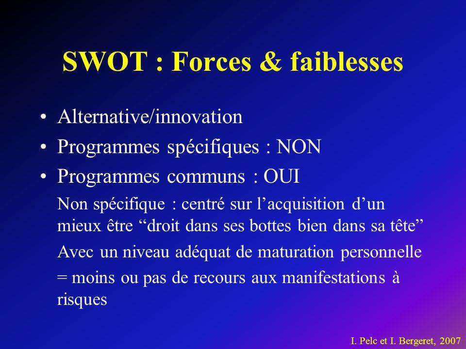 SWOT : Forces & faiblesses Alternative/innovation Programmes spécifiques : NON Programmes communs : OUI Non spécifique : centré sur lacquisition dun m