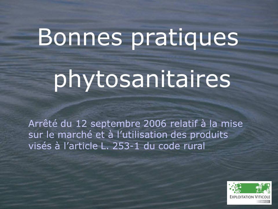 LE POINT SUR LA REGLEMENTATION Bouillie phytosanitaire : le mélange, généralement dans leau, dun ou plusieurs produits destinés à être appliqués par pulvérisation.