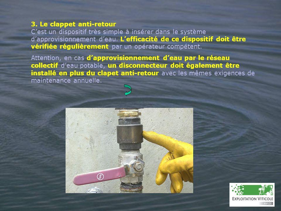 3. Le clappet anti-retour Cest un dispositif très simple à insérer dans le système dapprovisionnement deau. Lefficacité de ce dispositif doit être vér