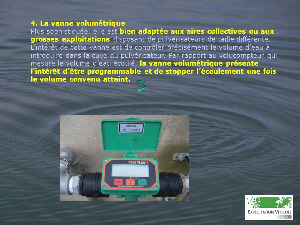 4. La vanne volumétrique Plus sophistiquée, elle est bien adaptée aux aires collectives ou aux grosses exploitations disposant de pulvérisateurs de ta