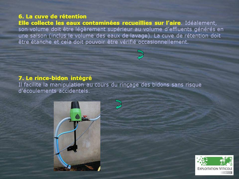 6. La cuve de rétention Elle collecte les eaux contaminées recueillies sur laire. Idéalement, son volume doit être légèrement supérieur au volume deff