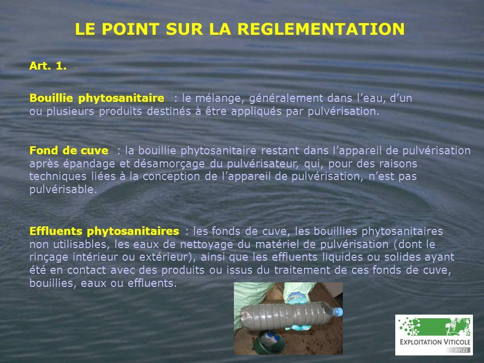 LE POINT SUR LA REGLEMENTATION Bouillie phytosanitaire : le mélange, généralement dans leau, dun ou plusieurs produits destinés à être appliqués par p