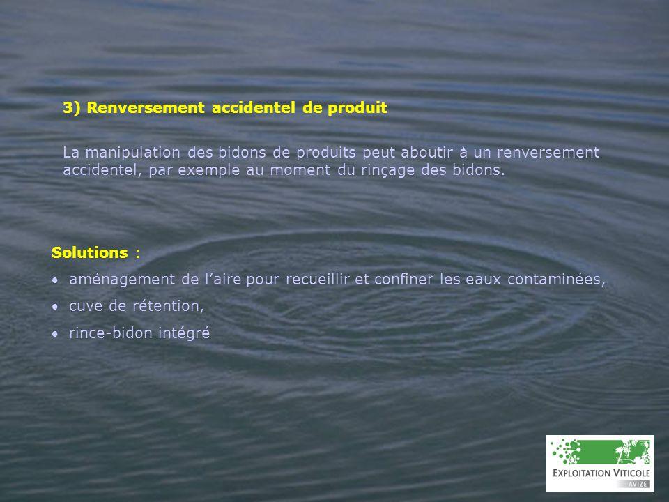 3) Renversement accidentel de produit La manipulation des bidons de produits peut aboutir à un renversement accidentel, par exemple au moment du rinça