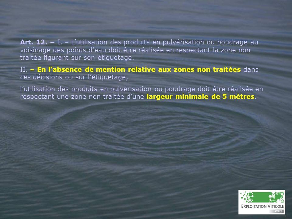 Art. 12. I. – Lutilisation des produits en pulvérisation ou poudrage au voisinage des points deau doit être réalisée en respectant la zone non traitée