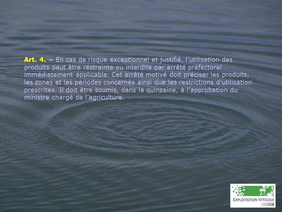 A N N E X E 1 CONDITIONS À RESPECTER POUR LÉPANDAGE, LA VIDANGE OU LE RINÇAGE DES EFFLUENTS PHYTOSANITAIRES VISÉS AUX ARTICLES 6-II, 7 ET 8 Lépandage, la vidange ou le rinçage des effluents phytosanitaires visés aux articles 6-II (fonds de cuve dilués), 7 (eaux de rinçage externe) et 8 (effluents épandables issus des systèmes de traitement) nest possible que dans les conditions suivantes : – aucun épandage, vidange ou rinçage nest autorisé à moins de 50 mètres des points deau, des caniveaux, des bouches dégout et de 100 mètres des lieux de baignade et plages, des piscicultures et zones conchylicoles et des points de prélèvement deau destinée à la consommation humaine ou animale.