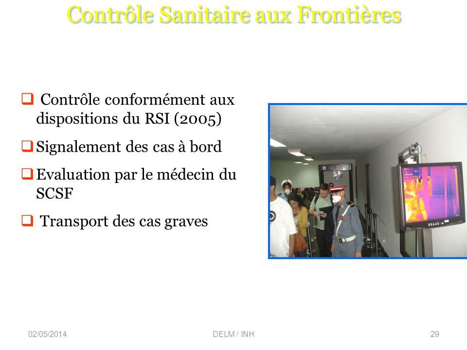 02/05/2014DELM / INH29 C ontrôle conformément aux dispositions du RSI (2005) Signalement des cas à bord Evaluation par le médecin du SCSF Transport des cas graves Contrôle Sanitaire aux Frontières