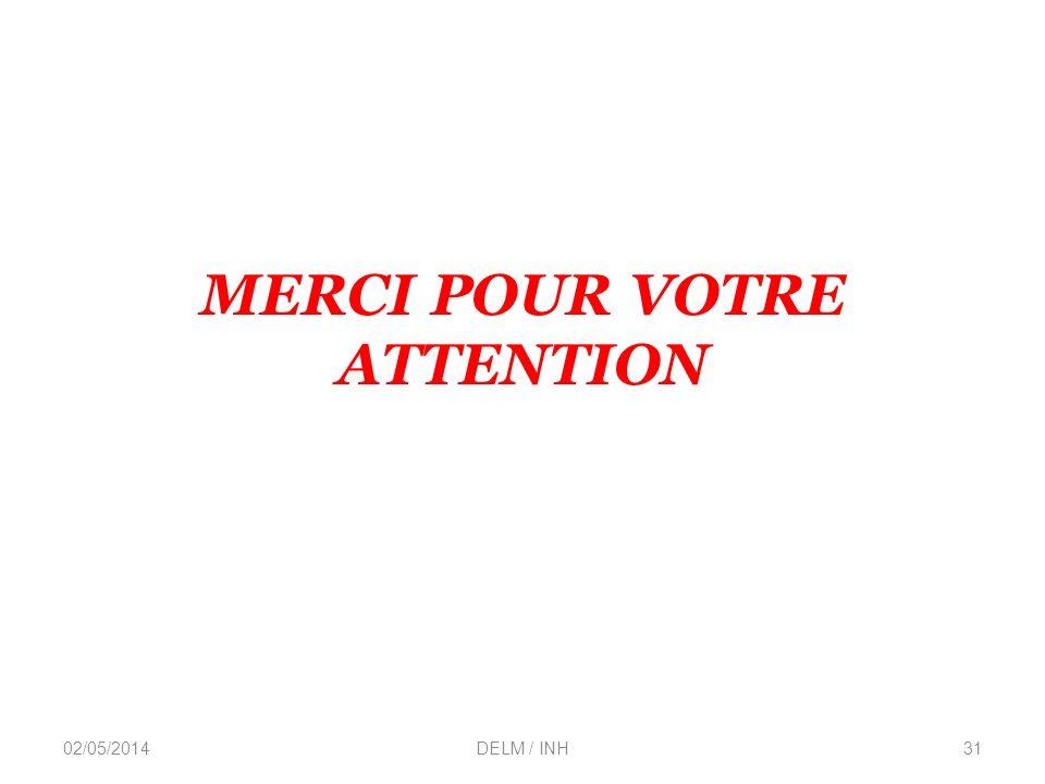 MERCI POUR VOTRE ATTENTION 02/05/2014DELM / INH31