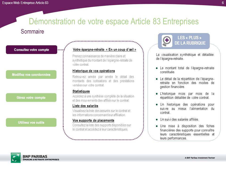 Espace Web Entreprise Article 836 Le montant total de lépargne-retraite constituée.