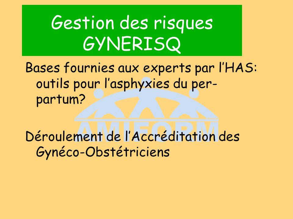 Gestion des risques GYNERISQ Bases fournies aux experts par lHAS: outils pour lasphyxies du per- partum? Déroulement de lAccréditation des Gynéco-Obst