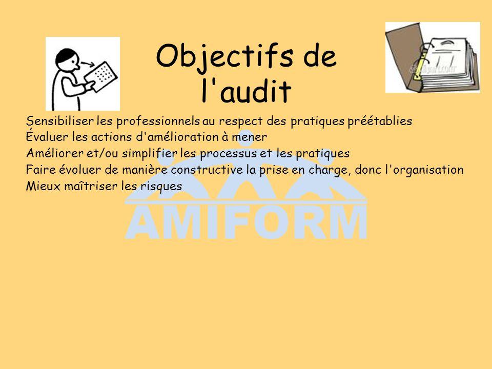 Objectifs de l'audit Sensibiliser les professionnels au respect des pratiques préétablies Évaluer les actions d'amélioration à mener Améliorer et/ou s