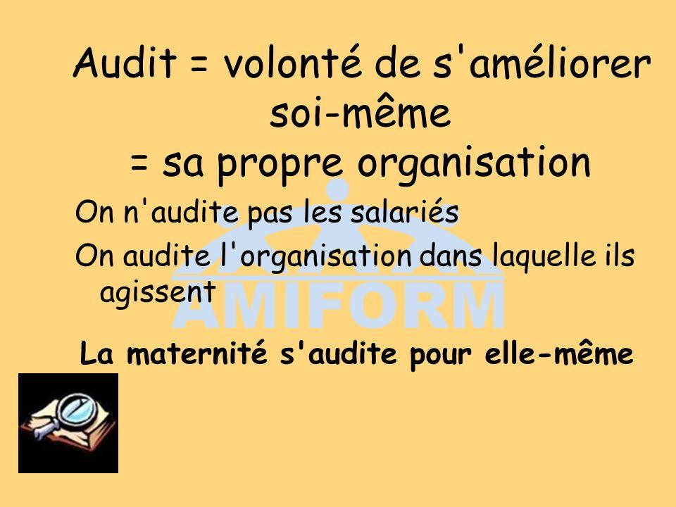 Audit = volonté de s améliorer soi-même = sa propre organisation On n audite pas les salariés On audite l organisation dans laquelle ils agissent La maternité s audite pour elle-même