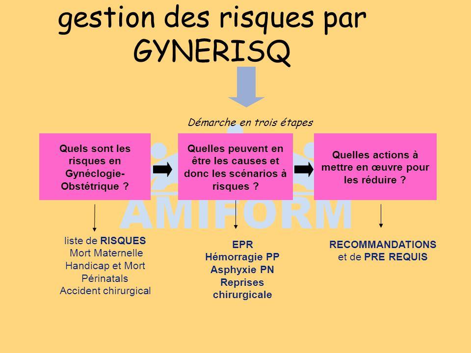 gestion des risques par GYNERISQ Quels sont les risques en Gynéclogie- Obstétrique ? Quelles peuvent en être les causes et donc les scénarios à risque