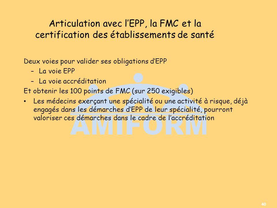 40 Articulation avec lEPP, la FMC et la certification des établissements de santé Deux voies pour valider ses obligations dEPP –La voie EPP –La voie a