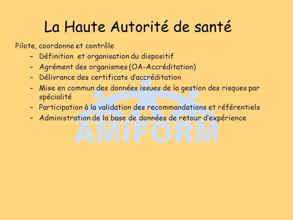 La Haute Autorité de santé Pilote, coordonne et contrôle –Définition et organisation du dispositif –Agrément des organismes (OA-Accréditation) –Délivr